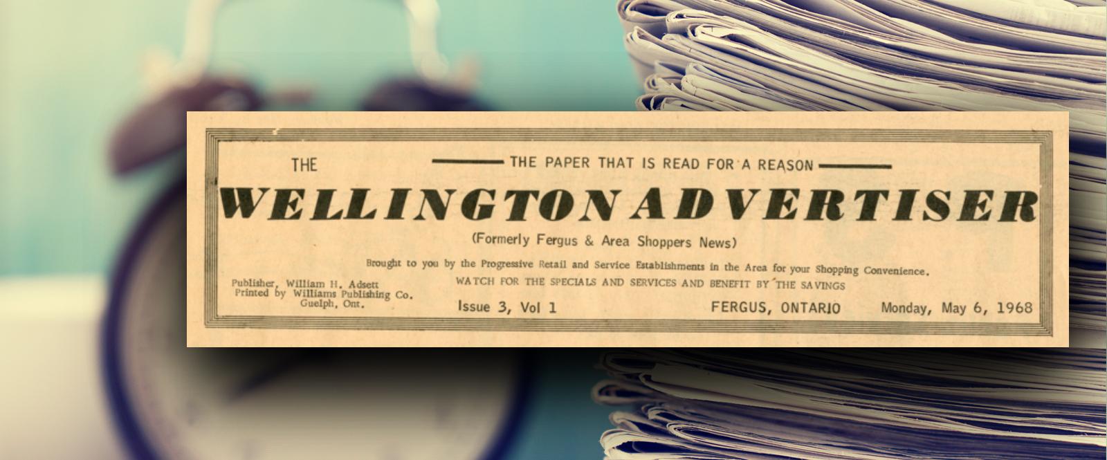 Old Wellington Advertiser newspaper header