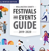festivals and events guide cover with two people canoeing