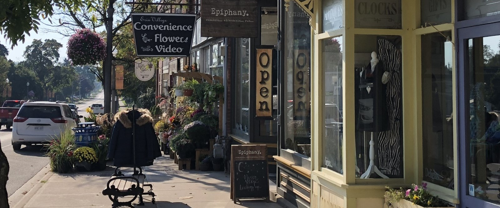 downtown streetscape with flowers in Erin