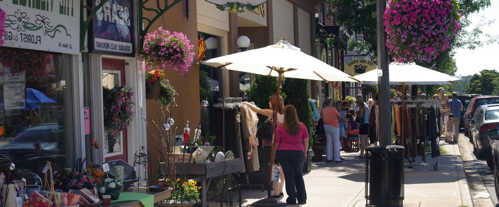 patrons walking and shopping Main Street in Erin