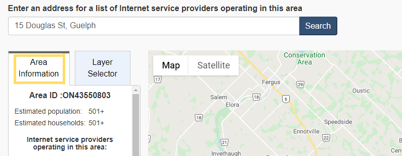 picture of how to navigate Government of Canada's internet map