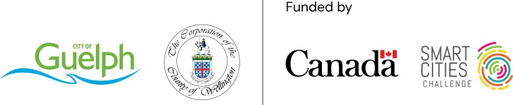 partner logos for Our Food Future project: City of Guelph, County of Wellington, Government of Canada, and Smart Cities Challenge