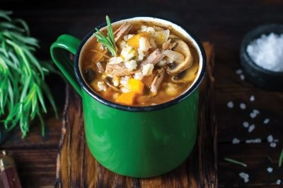 mug of hearty soup