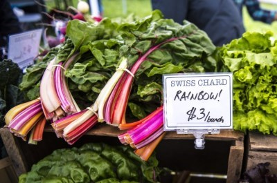 close up of rainbow chard at a farmers' market