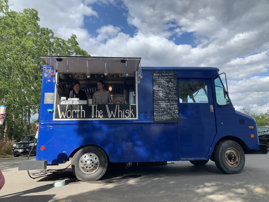 blue food truck with window open