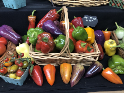 basket of rainbow peppers