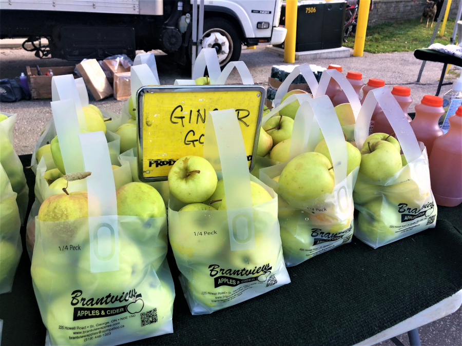 bags of bright green apples