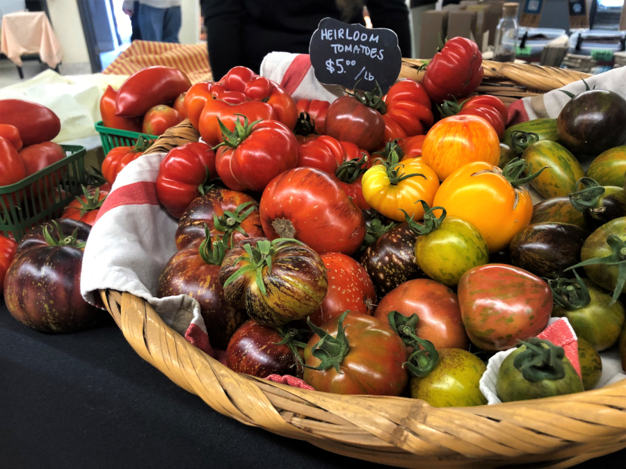 basket of herloom tomatoes
