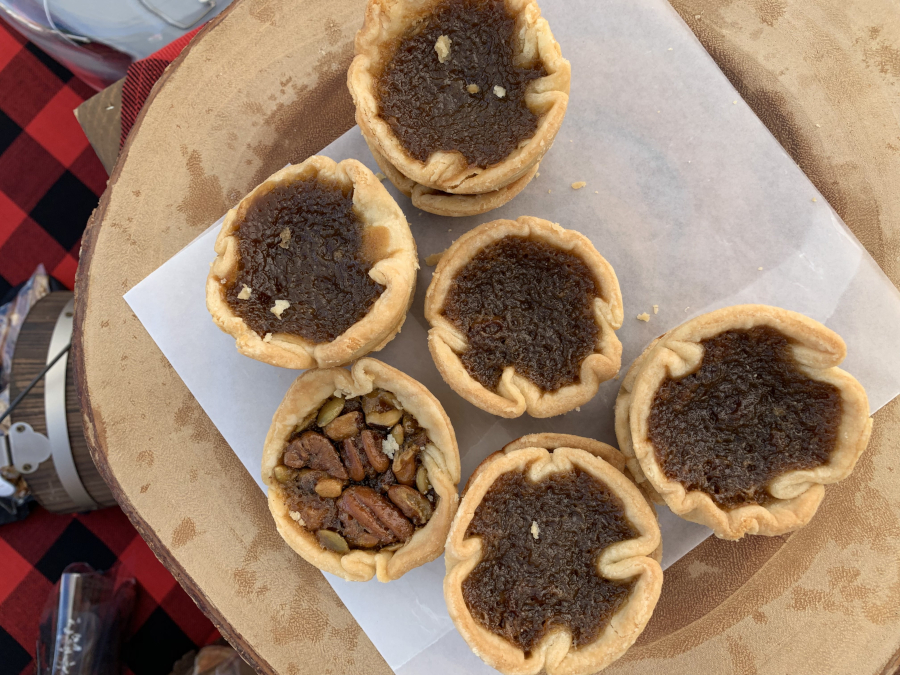 top view of six buttertarts