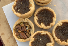 top view of butter tarts sitting on display