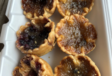 butter tarts in a take out container