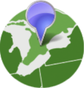 globe with geolocation icon