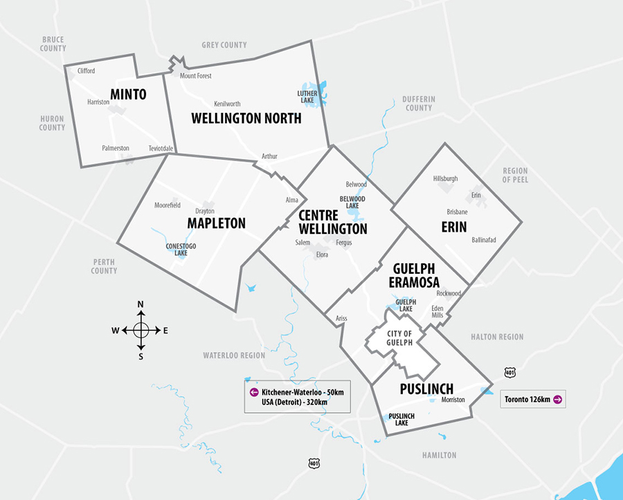 Map of the County of Wellington including Guelph