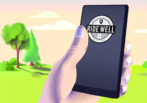 Ride Well app on cell phone