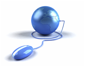 Blue mouse plugged into blue world globe