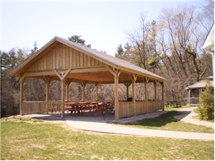 Large gazebo with picnic tables