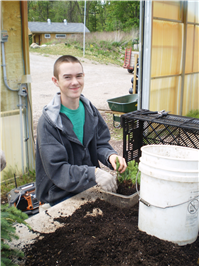 volunteer in greenhouse planting