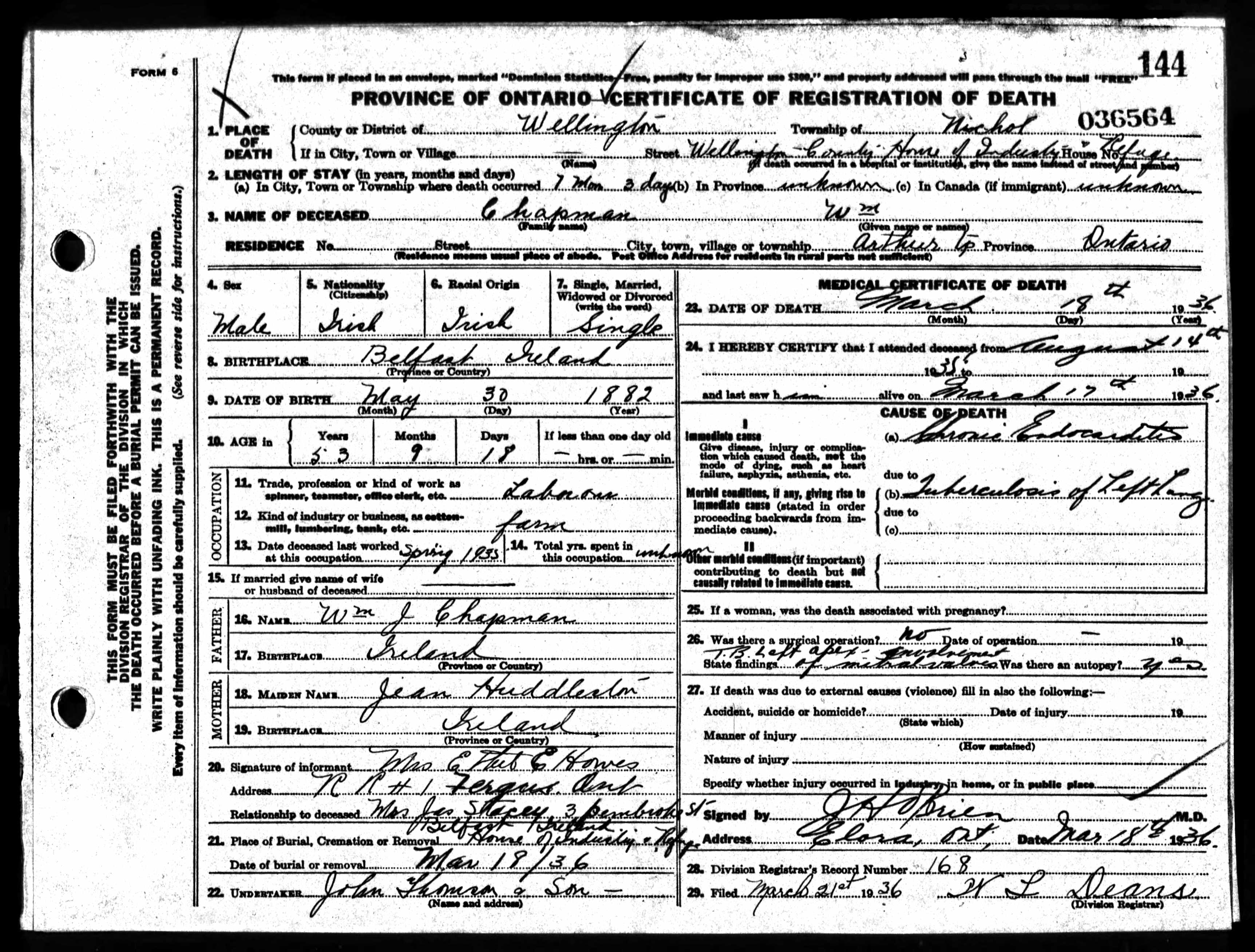 House of industry death certificates wellington county chapman william mar 1936 aiddatafo Choice Image