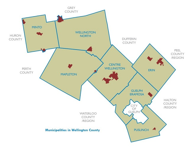map of Wellington County