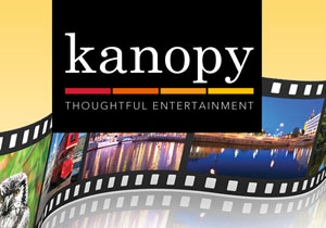 Kanopy logo in front of a film strip