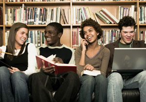 teens reading and talking