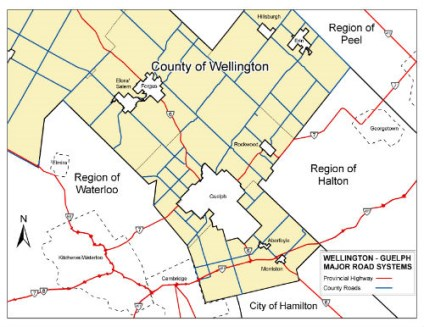 Wellington County and Guelph Map