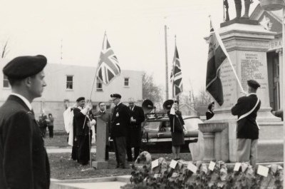 Veterans at the Harriston and Minto Township cenotaph, circa 1963