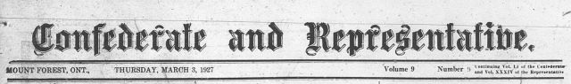 Mount Forest Confederate and Representative newspaper mast head, 3 March 1927