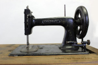 "detail photograph of a ""Barclay"" Sewing Machine"