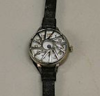photograph of wristwatch, black leather band