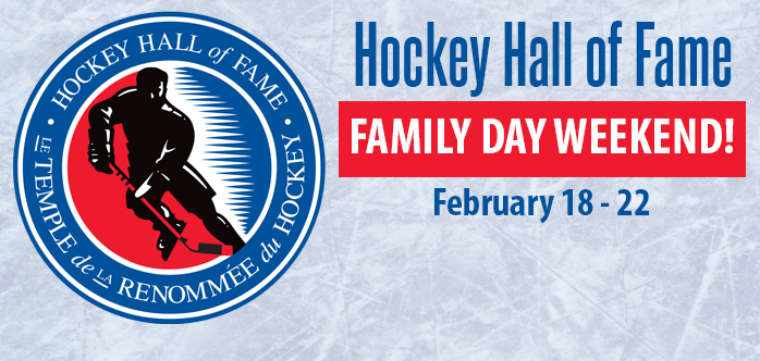 Hockey Hall of Fame logo and family day banner