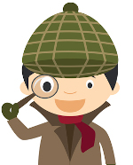 full size image of Sherlock Holmes with magnifying glass
