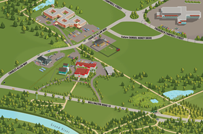 Illustrated map of Wellington Place campus