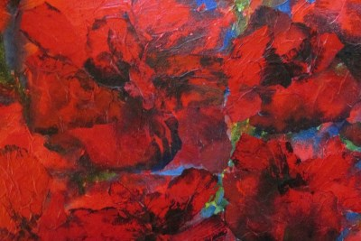 textured red painting