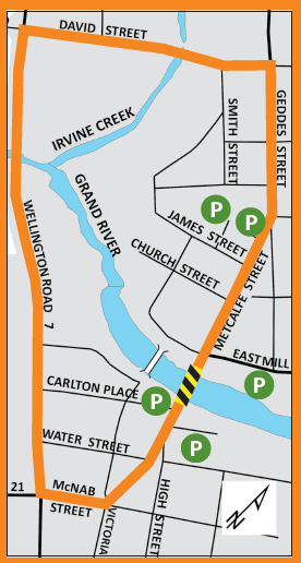 Detour Route map for downtown Elora during bridge consturction