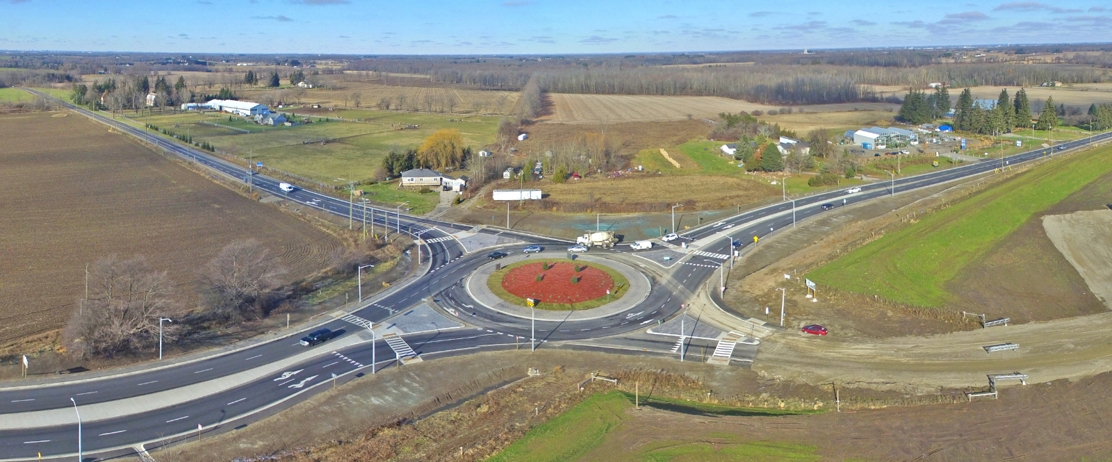 Roundabout in rural setting