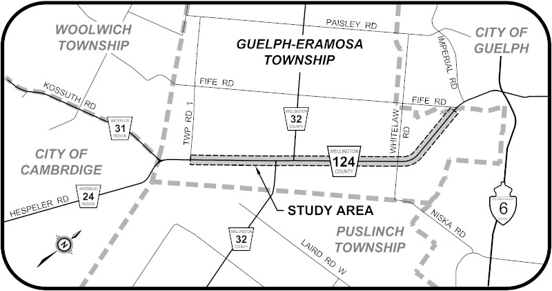 Study Area on Wellington Road 124 in Guelph Eramosa Township
