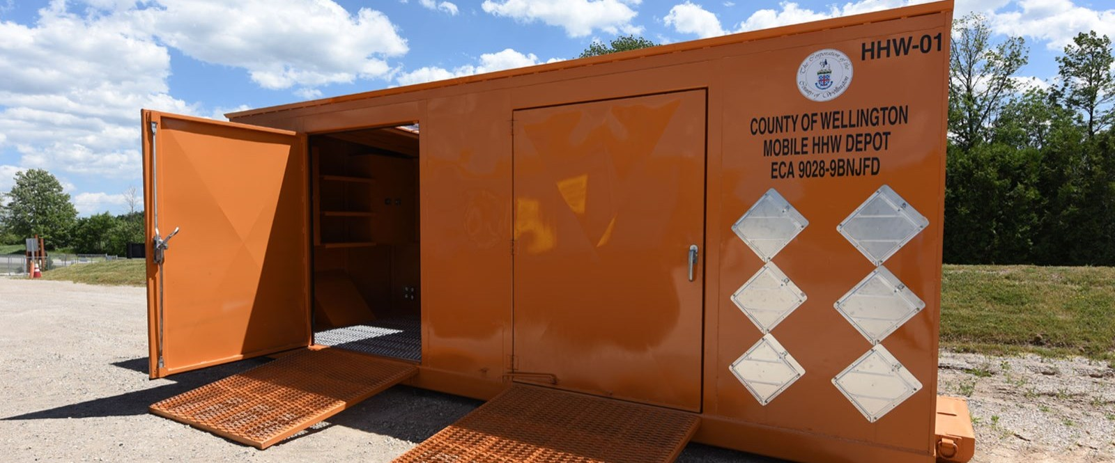 large orange steel container