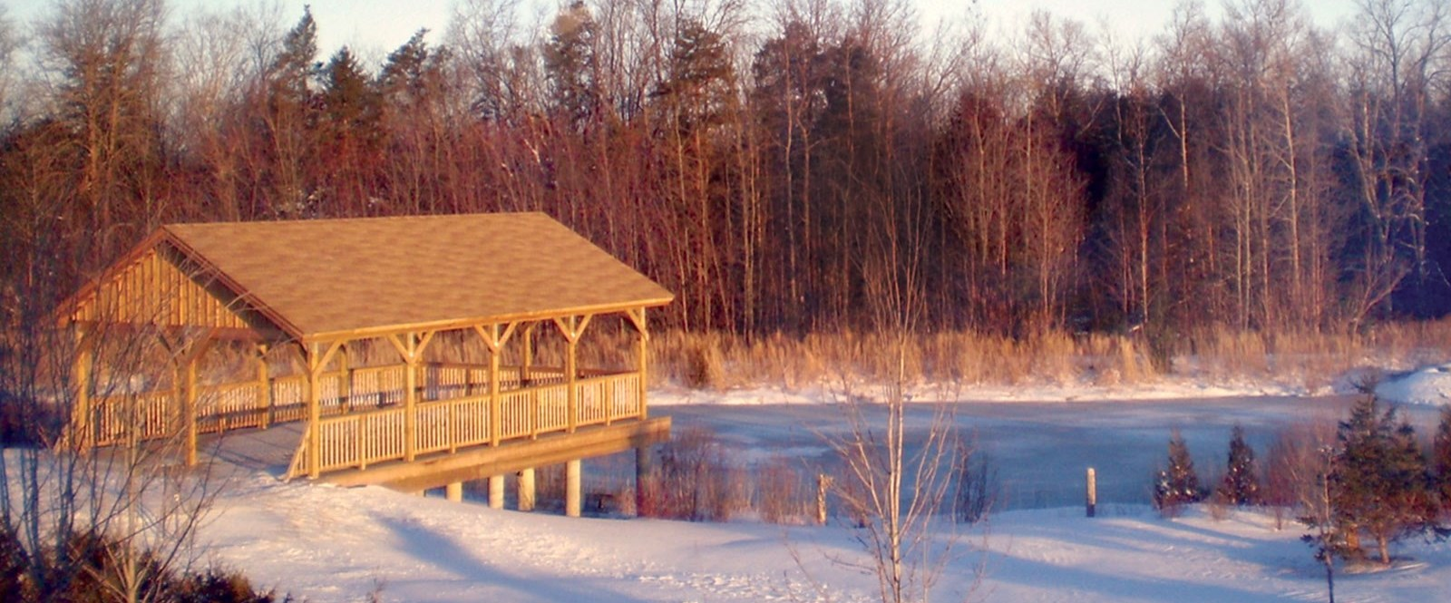 gazebo overlooking frozen pond