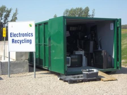 electronics recycling bin at sites