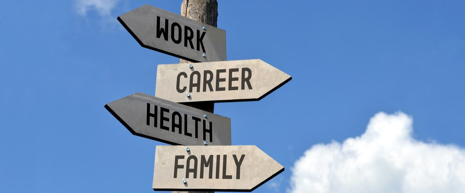 Road signs with family, work, health and career as the directions